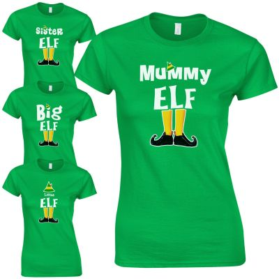 Elf Family Ladies Fitted T-Shirt - Funny Cute Christmas Pyjama PJ's Gift Top